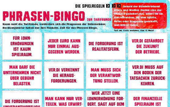 Phrasen-Bingo zur Tarifrunde